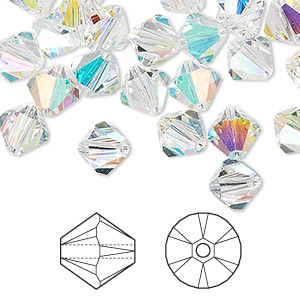 Bead, Swarovski® crystals, Crystal Passions®, crystal AB, 8mm Xilion bicone (5328). Sold per pkg of 72and Beads