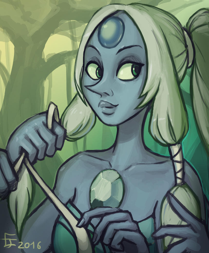 Opal from Steven universe fan art / practice drawing thingy. the reason why she is in a jungle is.... that  I wanted to use green xD done live on www.twitch.tv/egomanfreeman