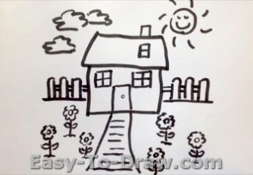 How To Draw A Cartoon Flower Garden For Kids Easy To Draw Com
