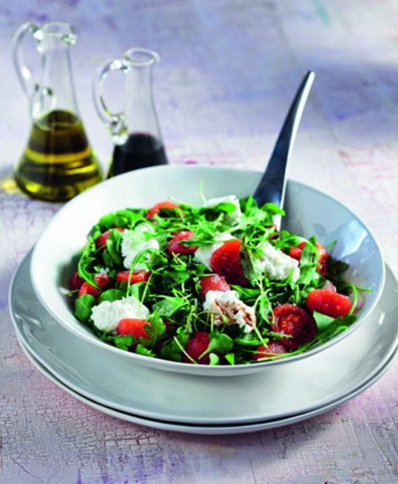 Aragula Salad with cherry tomatoes and Katiki Cheese from Domokos