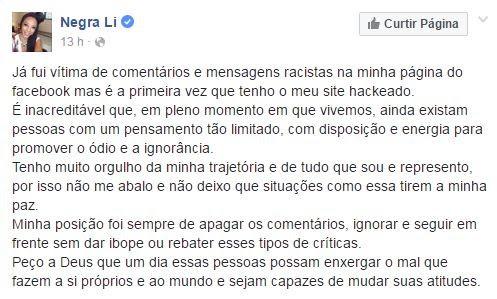Negra Li no Facebook (Foto: Reprodução / Facebook)