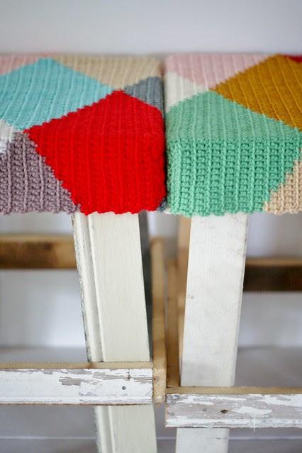 wood & wool harlequin stools