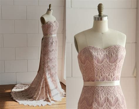 Vintage Dusty Pink/Blush Pink Eyelet Lace Wedding By