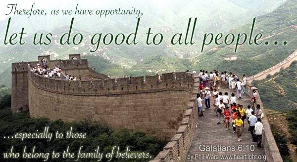 Inspirational illustration of Galatians 6:10