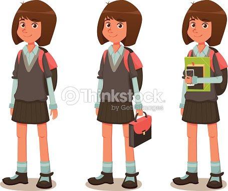 Niña En Edad Escolar En Uniforme Escolarilustración Dibujo Animado
