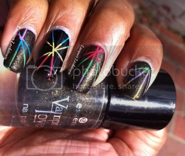 Lacquer Lockdown - rainbow nail art, essie mojito madness, essie peach daiquiri, zoya pippa, essence vampires love old gold buffy, orly liquid vinyl, sally hansen insta dri brisk blue, striping tape mani, firework nail art,