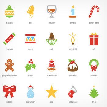 クリスマス目前カラフルで立体的なデザインの無料アイコンセットxmas