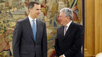 Quevedo, durant l'audiència amb el Rei a La Zarzuela l'abril passat (ACN)
