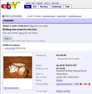 Ebay and Chametz