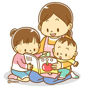 クリップアート絵本を読む親子のイラスト 子供と動物のイラスト屋