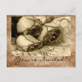 Vintage You're Invited! Invitation Postcards postcard