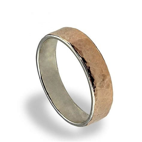 14K Rose Gold Wedding Band, Hammered Texture, Wedding Ring