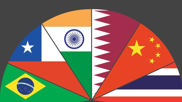Under one flag: Brazil, Chile, India, Qatar, China and Thailand are among the vast range of 'emerging market' countries