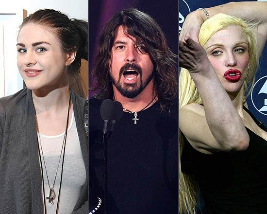 Frances Bean Cobain, Dave Grohl, vocalista do Foo Fighters e ex-Nirvana, e a cantora Courtney Love