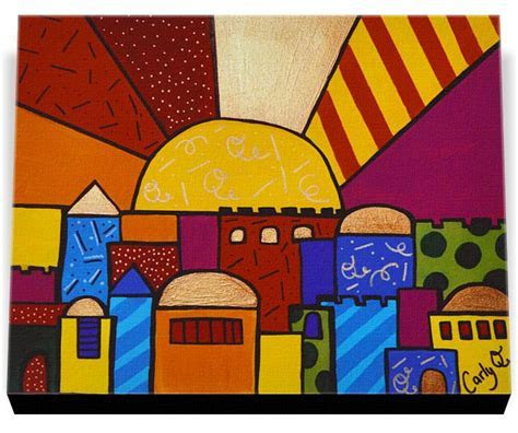 Jewish Art   Jerusalem Sunset Pop Art Wrapped Canvas