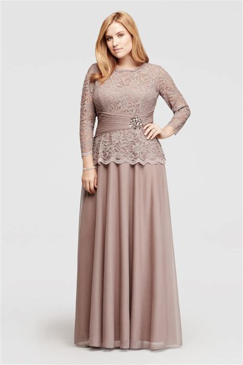 Plus Size Glitter Lace Long Sleeve Mother of Bride/Groom