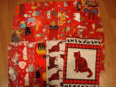 red fabrics for a new quilt