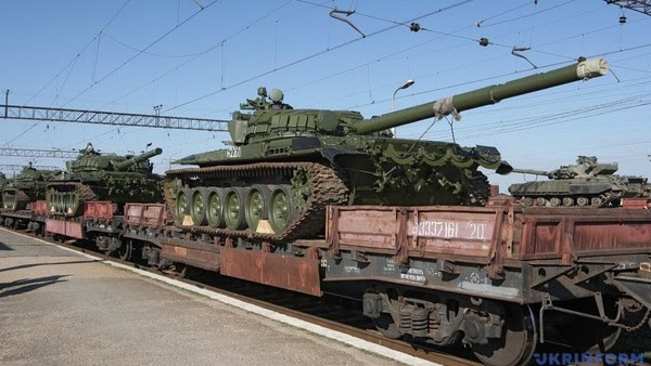 A photograph from Ilovaisk train station shared online on Tuesday showing russian tank