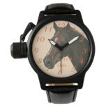 Chestnut mare horse portrait equine art painting wrist watch