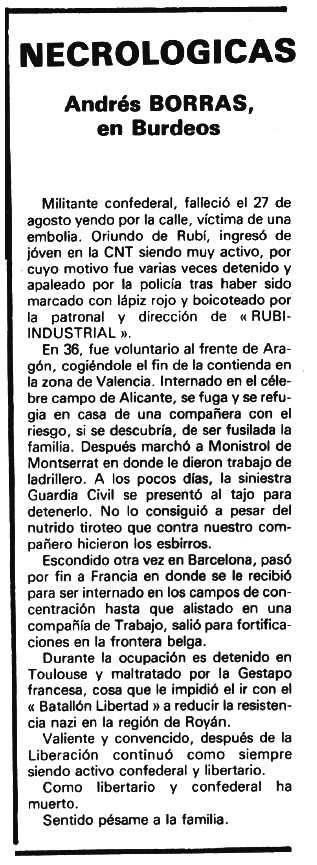 """Necrològica d'Andreu Borràs Colomé apareguda en el periòdic tolosà """"Espoir"""" del 16 de novembre de 1981"""