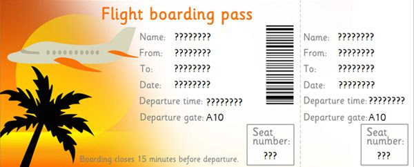 """Editable Airline Tickets. I made this into an """"El Al"""" ticket for ..."""