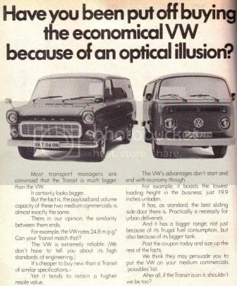 VW T2 v Ford Transit. 1974. U.K.   The Late Bay