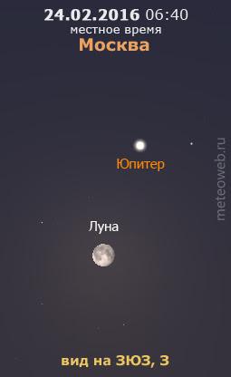 Луна и Юпитер на утреннем небе Москвы 24 февраля 2016 г.