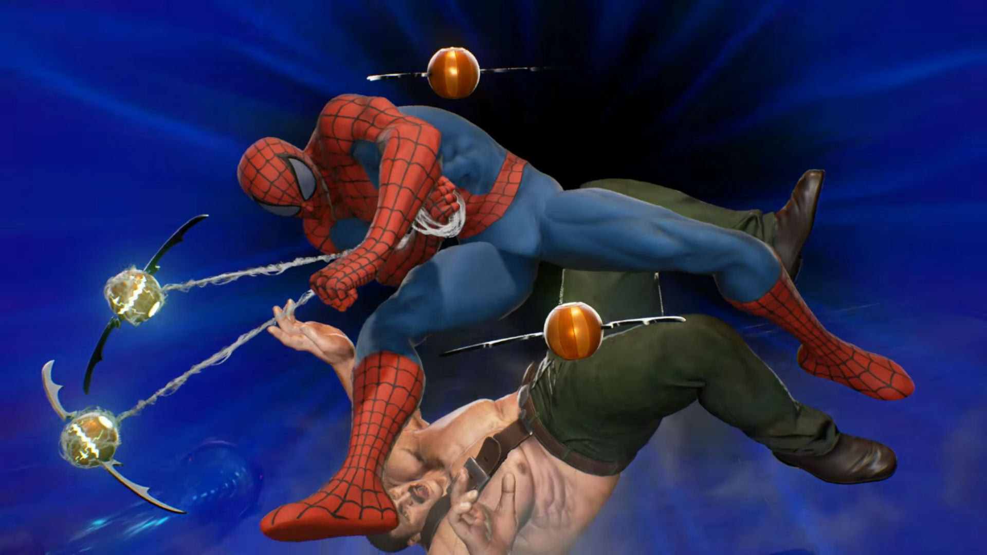 Watch Spider-Man dodge pumpkin bombs while Frank West takes a photo in Marvel vs. Capcom: Infinite screenshot