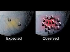 Graphic showing south polar terrain of Enceladus