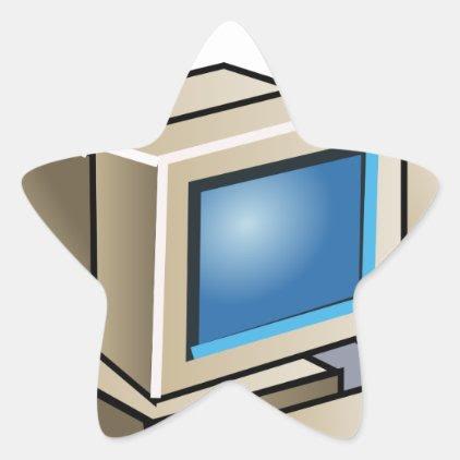 Retro Computer Star Sticker
