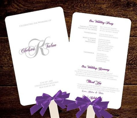 monogram wedding fan program fan wedding program romantic