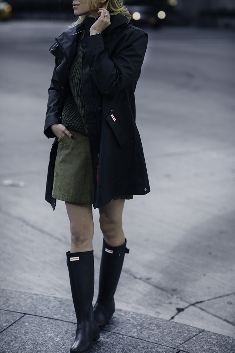 What To Wear in the Rain - Stylish Rain Gear - Helena of Brooklyn Blonde wearing Hunter Hunting Coat and Hunter Rain Boots