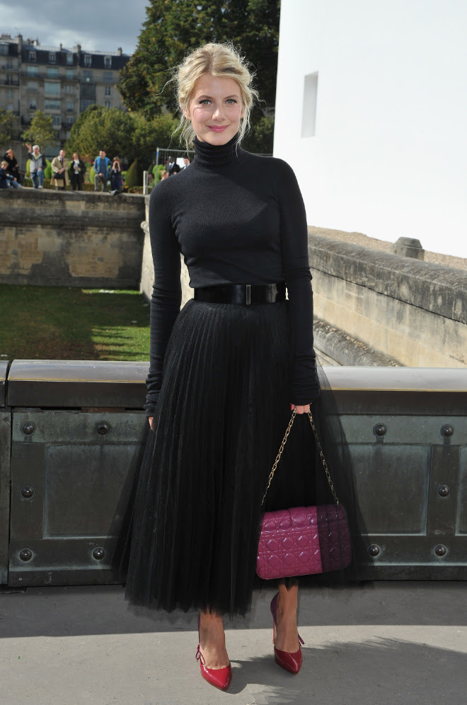 Melanie Laurent's all-noir ensemble at Dior is ladylike perfection. See more of our fave #PFW looks.