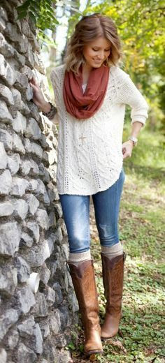 White Sweater, Blue Jeans and Long Boots
