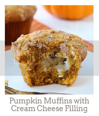 """""""Pumpkin Muffins with Cinnamon Cream Cheese Filling"""""""