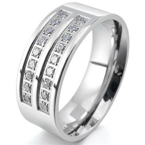 Mens Womens Polished Stainless Steel CZ Cubic Zirconia