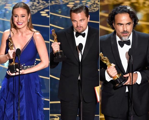 Brie Larson, Alejandro G. Iñárritu e Leonardo DiCaprio com suas estatuetas (Foto: Getty Images)
