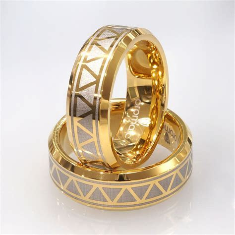 New 8mm Men's Solid Tungsten Wedding Band Ring 14K Gold