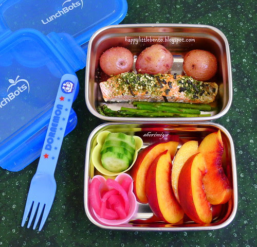 Salmon, Potatoes and Asparagus LunchBots Bento by sherimiya ♥