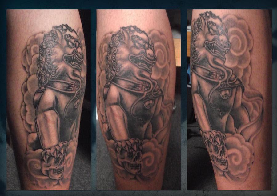 Detail of foo dog body suit tattoo design