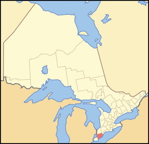 A map of Ontario showing the location of Chath...