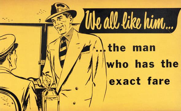 ttc subway cards advertisements exact fare man