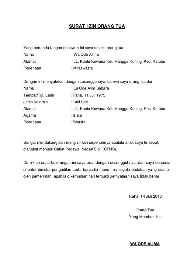 contoh surat pernyataan untuk pembuatan paspor anak contoh o