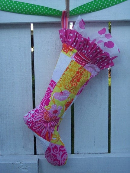 Handmade Christmas Stocking Lilly Pulitzer Fabric