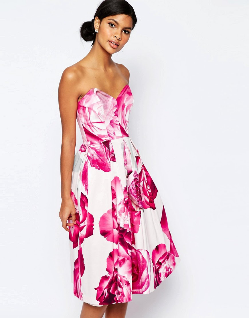 Image 1 of ASOS Bright Pink Floral Bandeau Midi Prom Dress