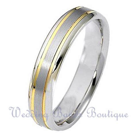 10K TWO TONE WHITE YELLOW GOLD MENS WEDDING BAND MANS