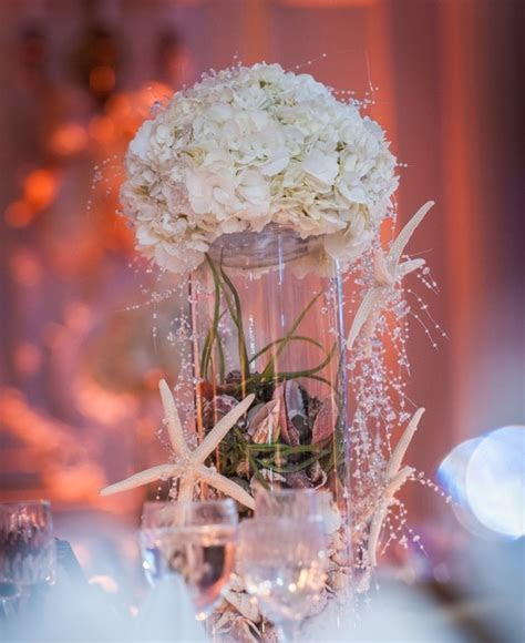 Picture Of a cute beach wedding centerpiece with a jar
