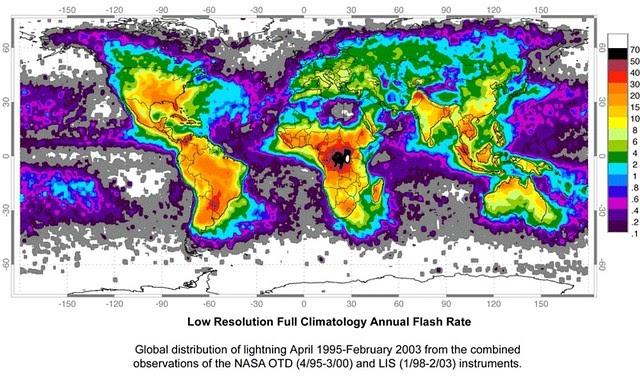 ¿Dónde caen los rayos en la Tierra?