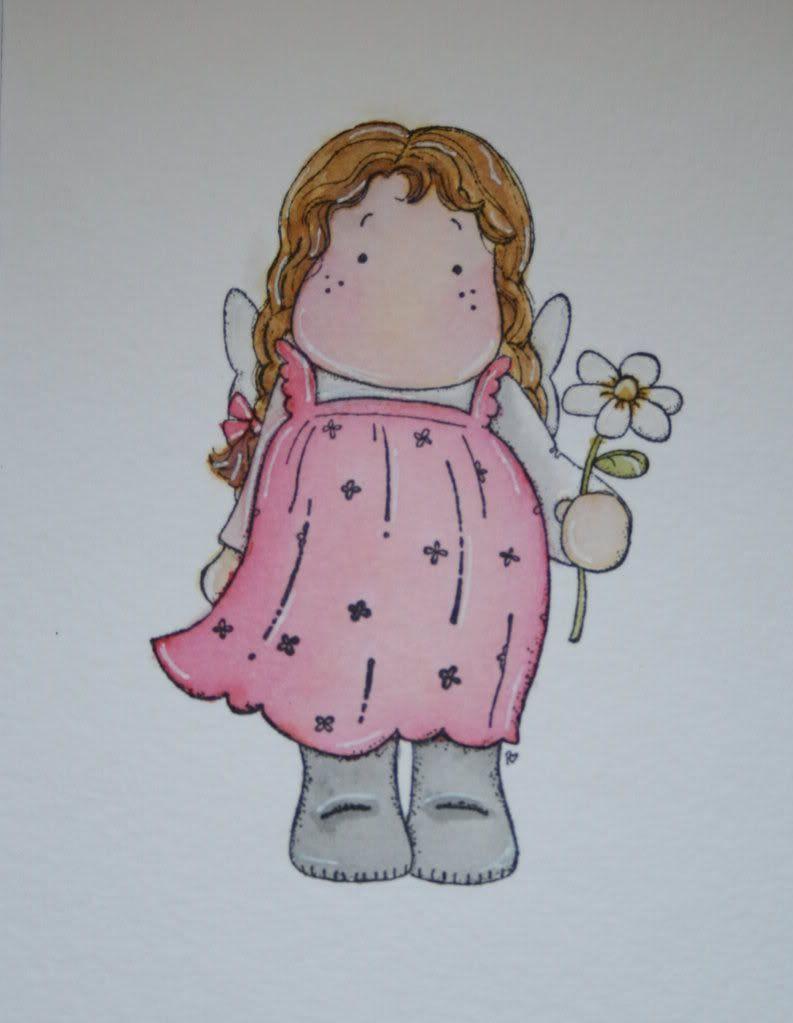 ... min første Magnolia-jente malt med distress ink. Faktisk veeedig fornøyd etter hvert, hi-hi... Nå må jeg øve mer... :)