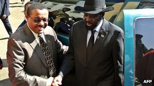 Ethiopian Prime Minister Hailemariam Desalegn (L) greets the President of South Sudan Salva Kiir in Addis Ababa on January 5, 2013.